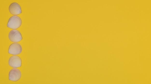 밝은 노란색 배경 여름 시간 개념에 연속으로 바다 조개는 복사 공간이 있는 평평한 레이아웃 스타일
