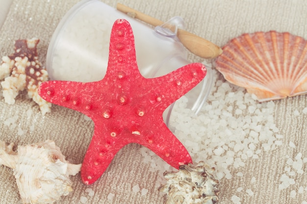 Sea spa treatment set with red star fish and sea salt