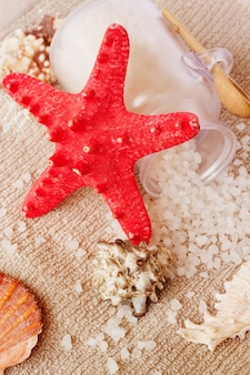 Sea spa treatment setting with red star fish and sea salt