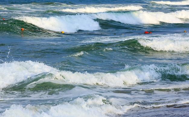 ビーチからの海の嵐の眺め。自然の背景。