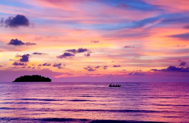 Sea sunset tropical island tranquillity