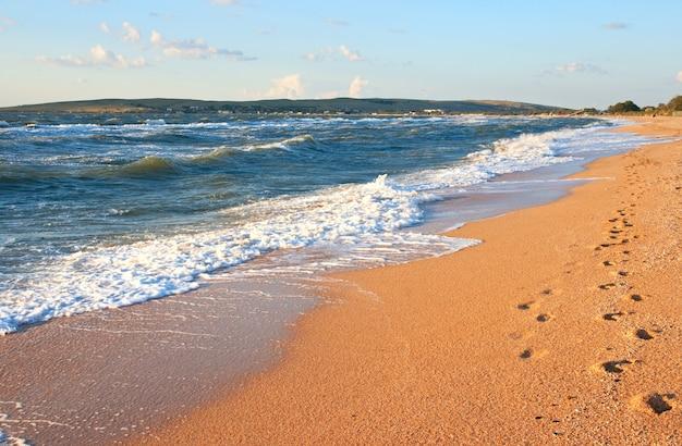 Морская волна прибоя на береговой линии