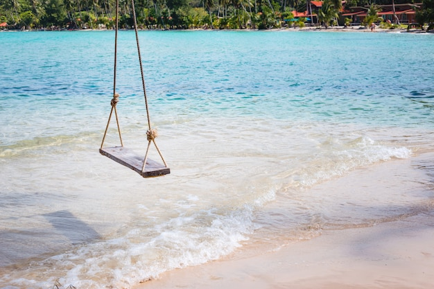 Sea swing beside the sea on tropical beach