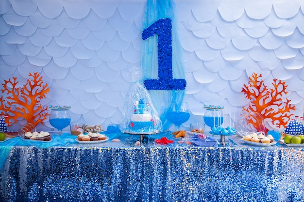 Sea time theme on the party's candy bar.