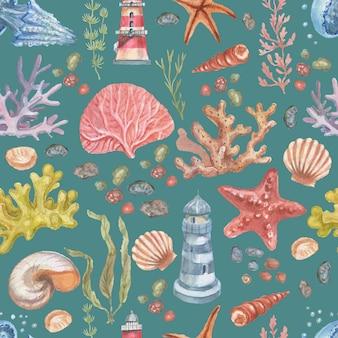 바다 여행 등대 해파리 불가사리 산호 껍질 원활한 패턴 해변 수채화
