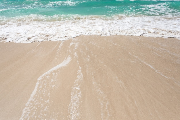 바다, 청록색 물, 모래 해변에서 서핑