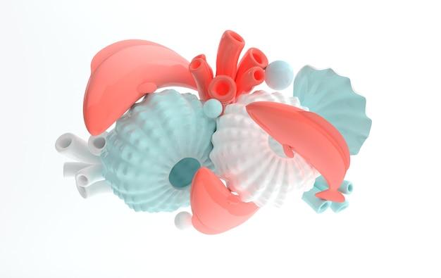 성게 조개 잉어 물고기와 산호 세트 3d 렌더링 해양 생물 배경