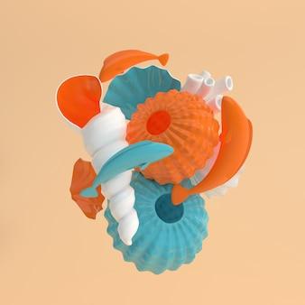 Sea urchins shells carp fish and coral set rendering
