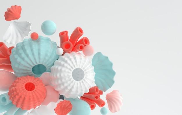성게 껍질 산호와 거품 설정 3d 렌더링 해양 생물 배경