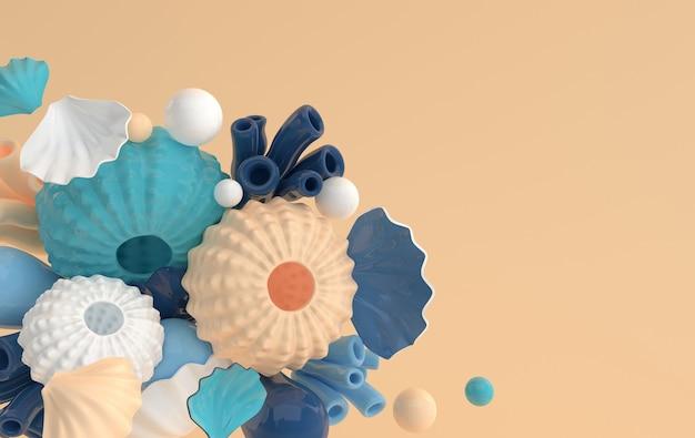 ウニの殻サンゴと泡のセットのレンダリング