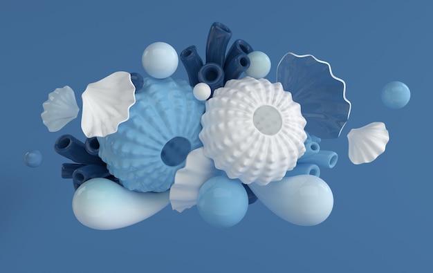 성게 껍질 산호와 해양 생물 배경 설정 거품
