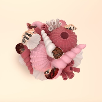 Sea urchins shells coral and bubbles set rendering
