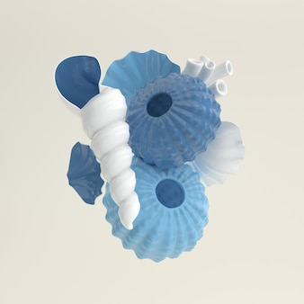 성게 조개 3d 렌더링 해양 생물 배경 설정