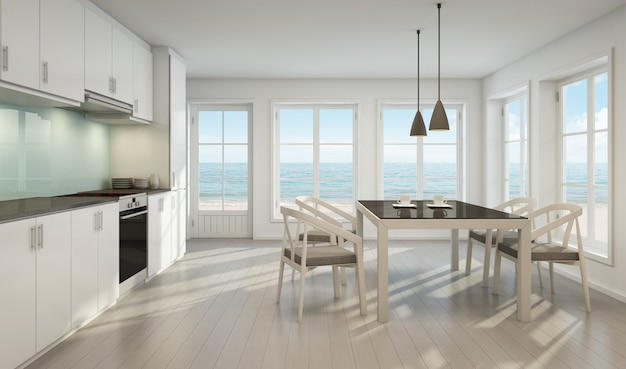 Sea view dining room and kitchen in beach house.