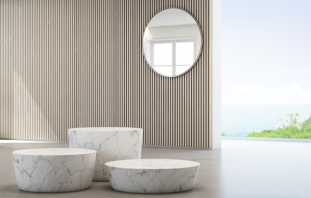 Sea view dressing room of luxury summer beach house with glass window and white marble podiums.