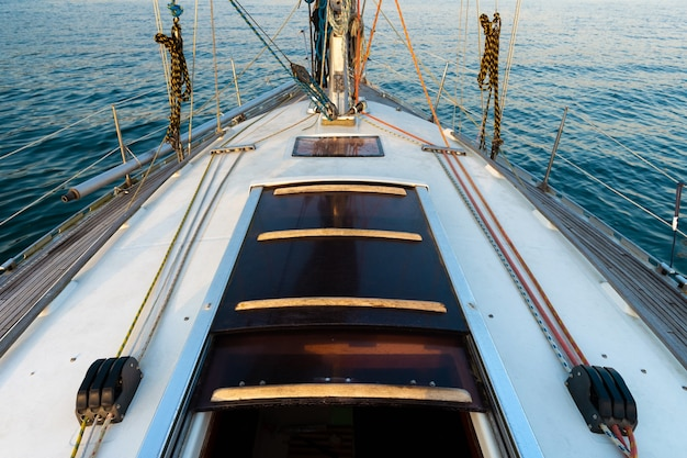 Sea view from the deck of a white sailing yacht, cruise travel concept, sea vacation