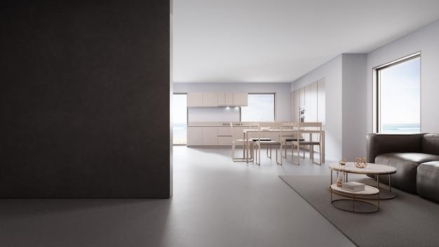 Кухня и гостиная с видом на море роскошного пляжного домика в современном дизайне
