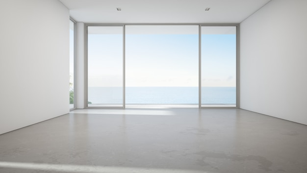 Sea view large living room of luxury summer beach house with big glass door and empty concrete floor.