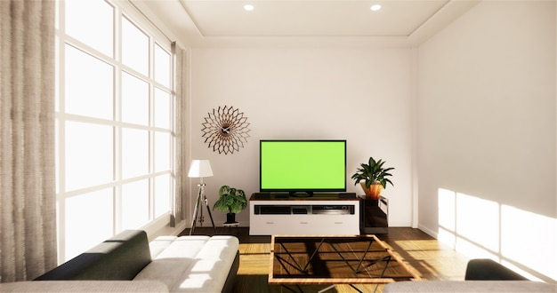 Sea view living room in modern beach summer home. 3d rendering