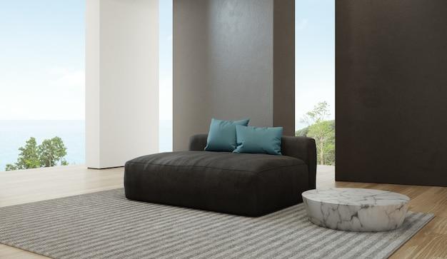 Гостиная с видом на море роскошного пляжного домика с диваном на деревянном полу.