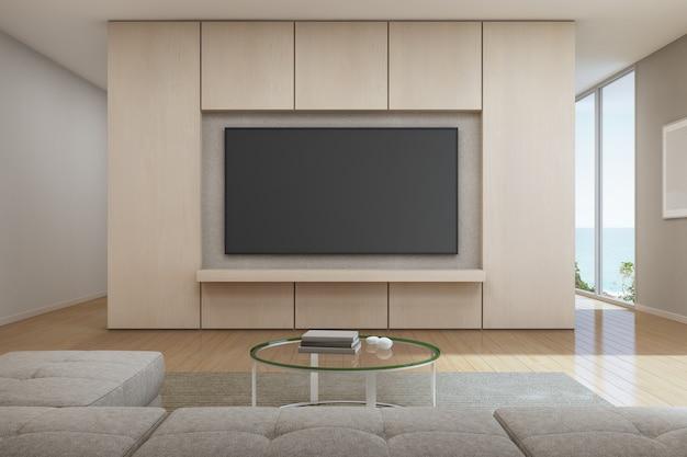 Вид на море гостиная с телевизором в современном роскошном домике на пляже