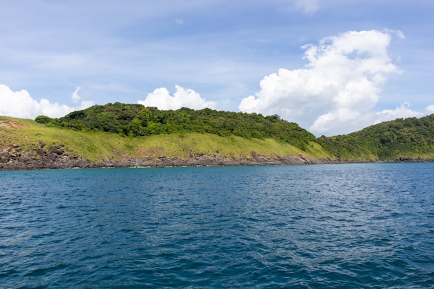 Sea view on sunny day from yacht cruise at phuket, thailand
