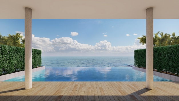 Sea view of swimming pool deck with bush and plam tree and sunlight. 3d rendering