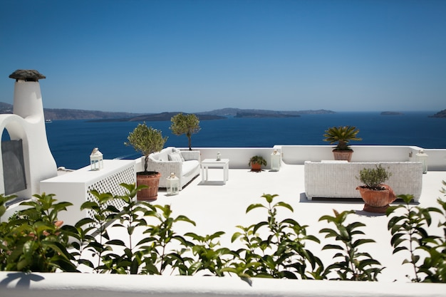 The sea view terrace at luxury hotel on santorini island, greece