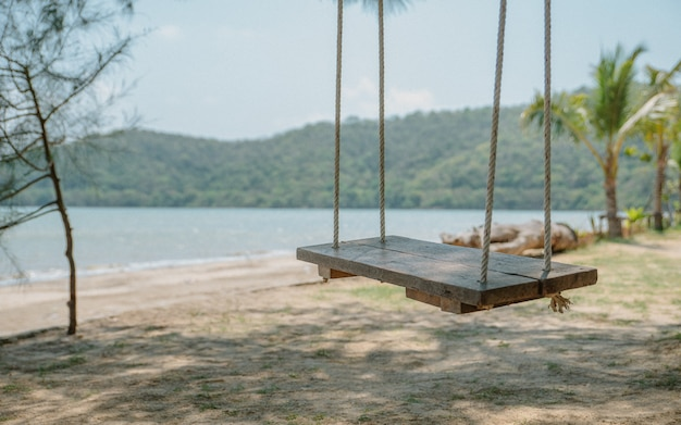 Sea view with lonely wooden swing on sandy beach.