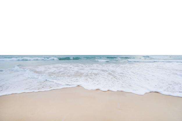 Sea wave crashing on sandy shore isolated on white background.