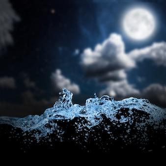 夜空の海の波。背景
