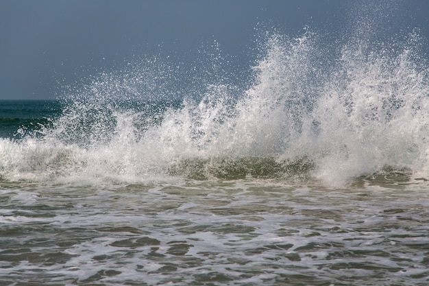 Sea waves at anjuna, goa, india