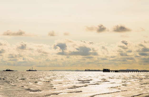 Sea with city landscape