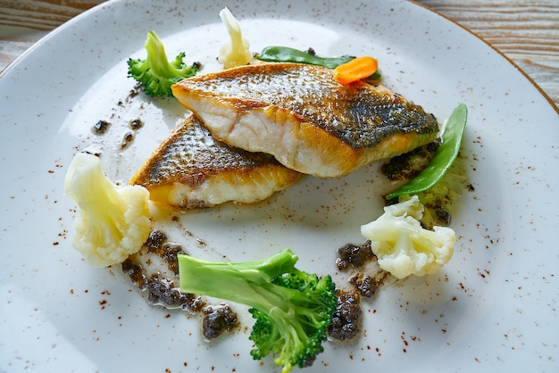 Seabass sea bass with stir fried vegetables