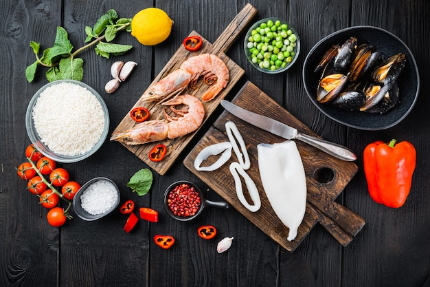 Seafood on cutting board with various ingredients