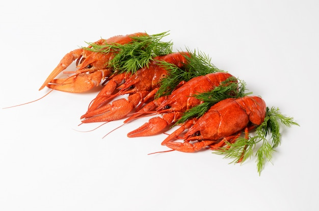Seafood dish with red boiled crayfish