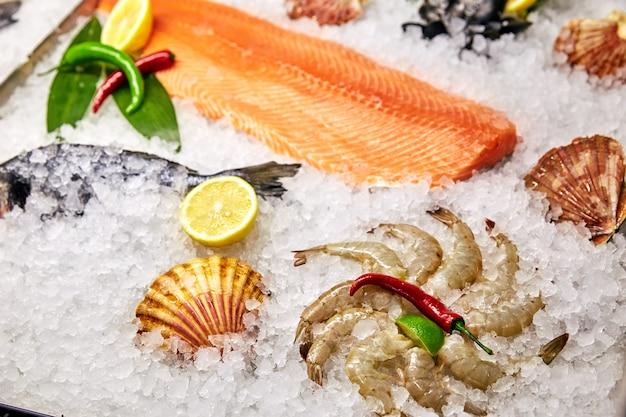 Seafood in the freezer and with ice