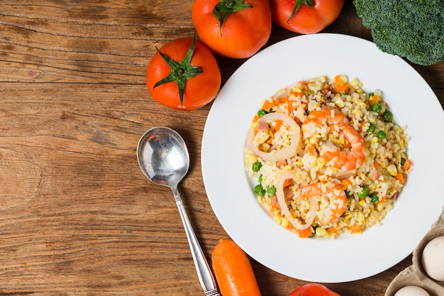 Seafood fried rice with shrimps