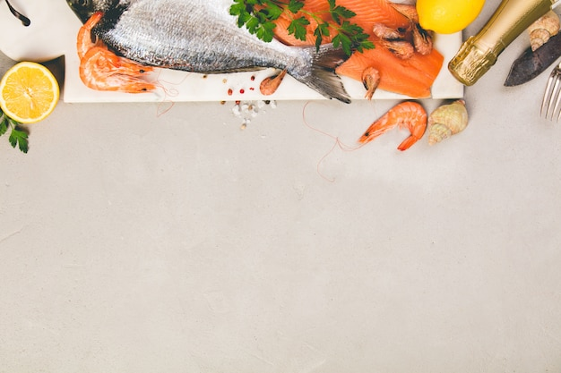 Seafood on grey concrete