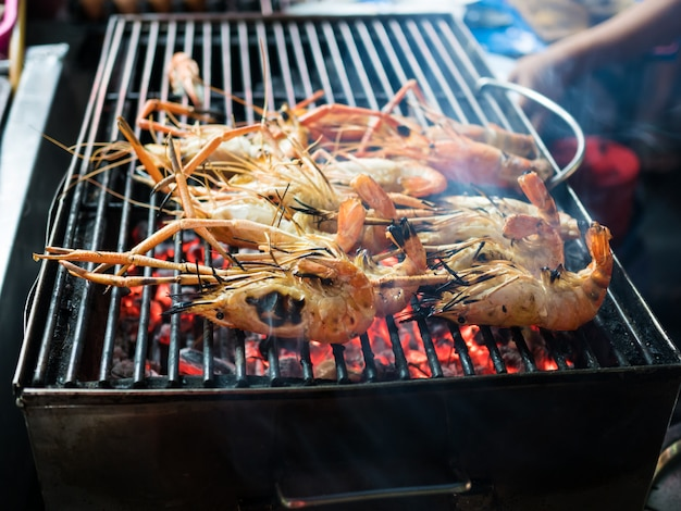 Seafood on grill in shop