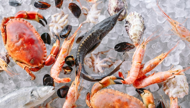 Seafood on ice.