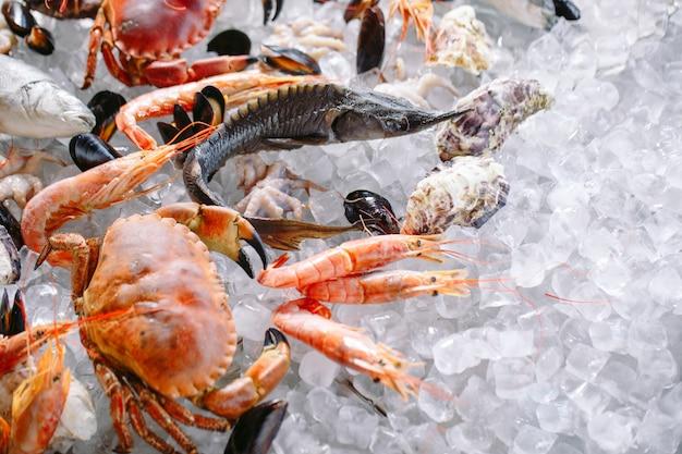 Seafood on ice.