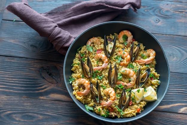 Seafood paella in the pan