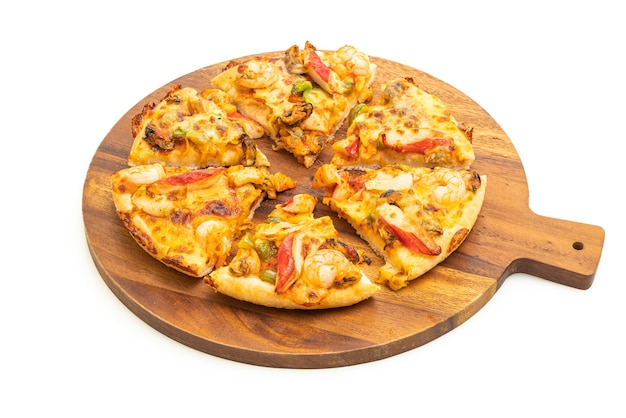 Seafood pizza isolated on white background