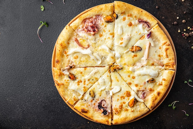 Seafood pizza white sauce takeaway mussel squid octopus shrimp cheese fast food fresh meal snack