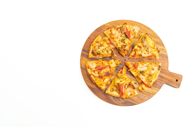 Seafood pizza on wood tray isolated on white