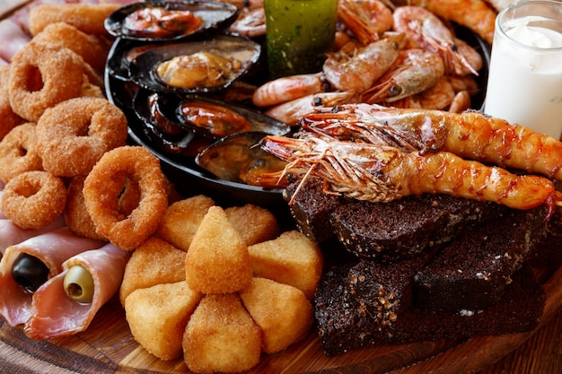 Seafood platter and meat