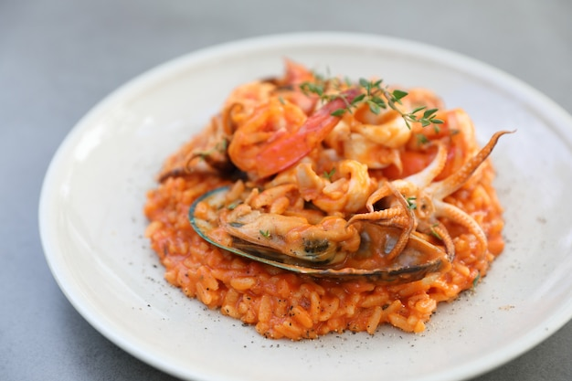 Seafood risotto with mussel shrimp and squid