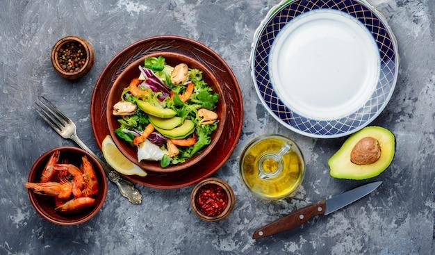 Seafood salad with prawns