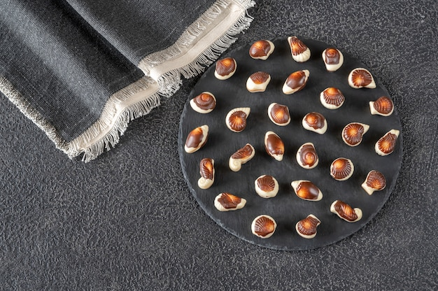Seafood-shaped chocolate candies
